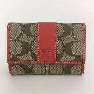 COACH Hamptons Signature Mini Wallet #6K05 Coral